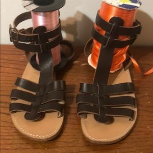 Sundance Brown Ankle Strap Leather Sandals, 38